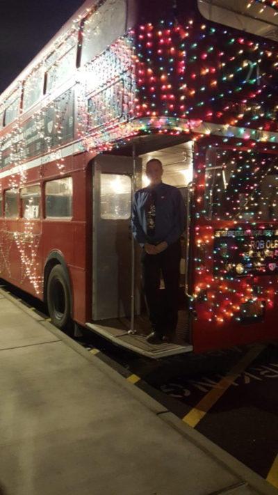 Rob Olson Christmas bus in Laveen, AZ.