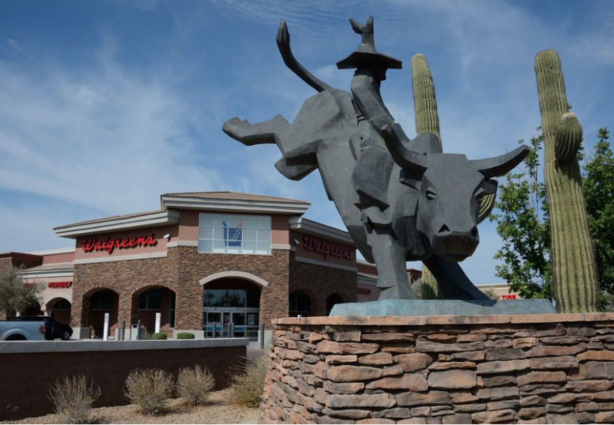 This statue of a bull pays tribute to rural life in Laveen, AZ.