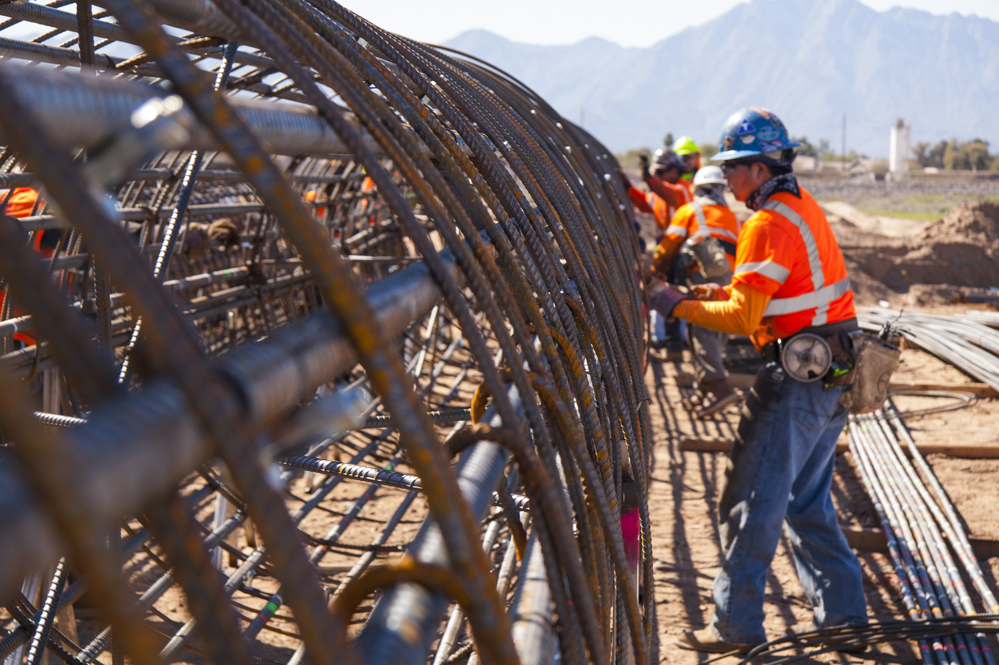 Rebar being installed at the Salt River Bridge for the South Mountain Freeway near Laveen, AZ.