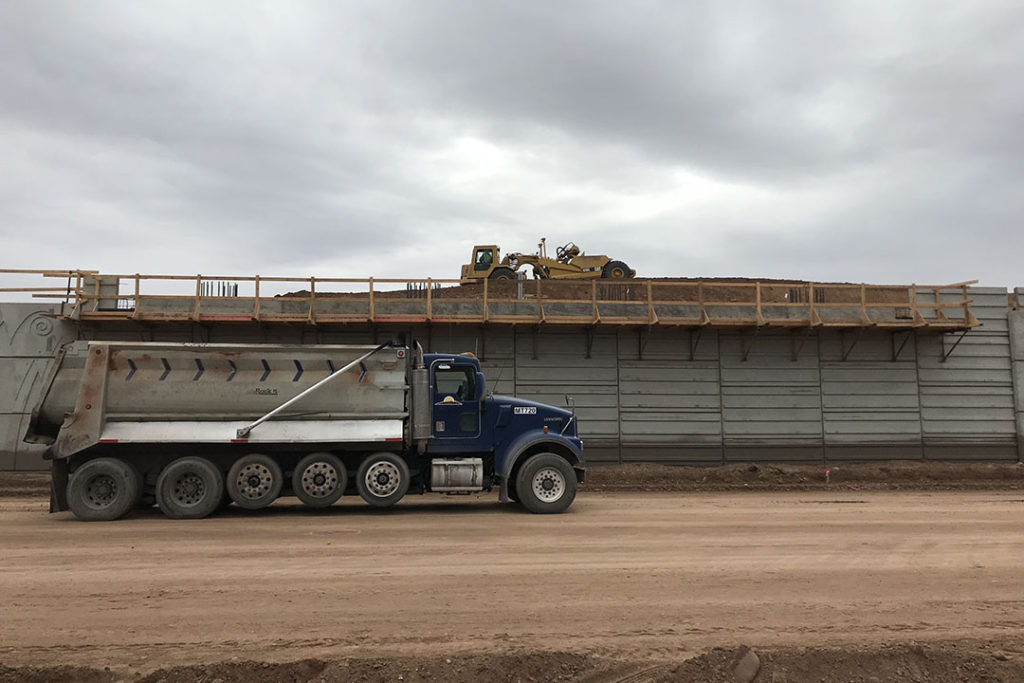 ADOT photo showing Southern Avenue Interchange wall underway as part of the Loop 202 construction.