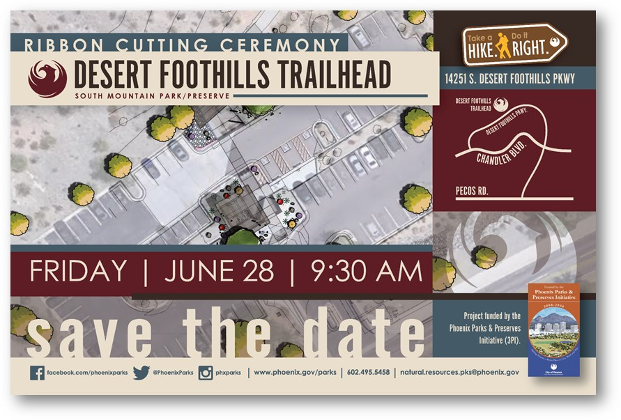 Ribbon cutting set for 9:30 a.m. June 28 for Desert Foothills Trailhead at South Mountain Park.